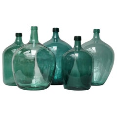 Set of Five Early 20th Century Teal Blue Green Demijohns, Lady Jeanne or Carboys