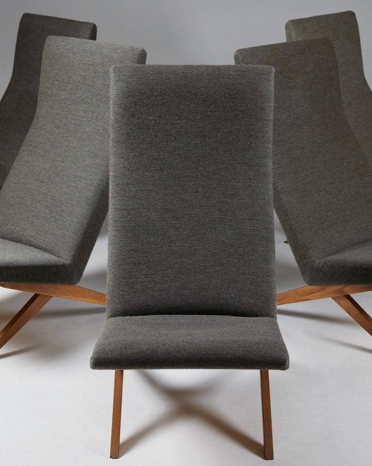 Mid-Century Modern Set of Five Easy Chairs Designed by Bodil Kjaer for Harbo Sølvsten, Denmark For Sale