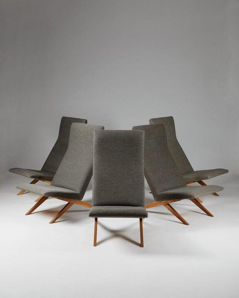 Set of Five Easy Chairs Designed by Bodil Kjaer for Harbo Sølvsten, Denmark In Good Condition For Sale In Stockholm, SE