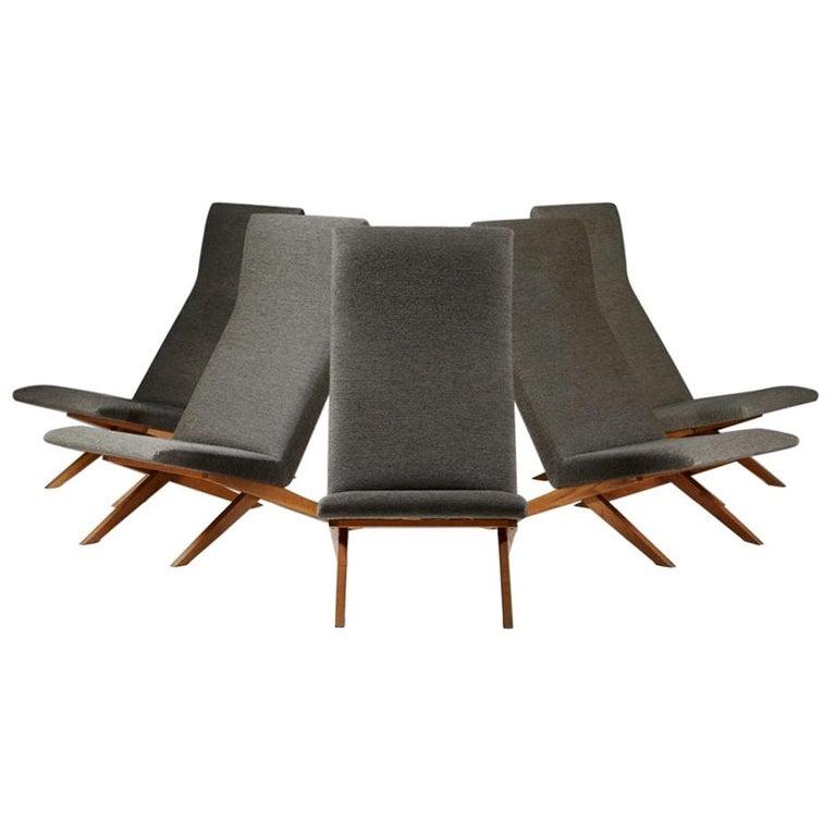 Set of Five Easy Chairs Designed by Bodil Kjaer for Harbo Sølvsten, Denmark For Sale