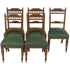 Set of Five Edwardian Carved Oak Leather Seat Dining Room Kitchen Chairs
