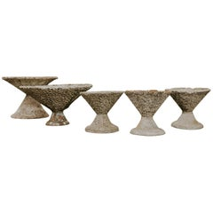 Set of Five Extra Large Concrete Planters or Jardinières