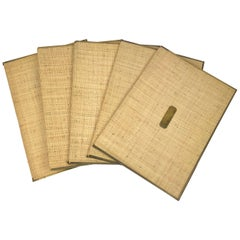 Set of Five File Folders in Wicker and Brass, Italy, 1960s