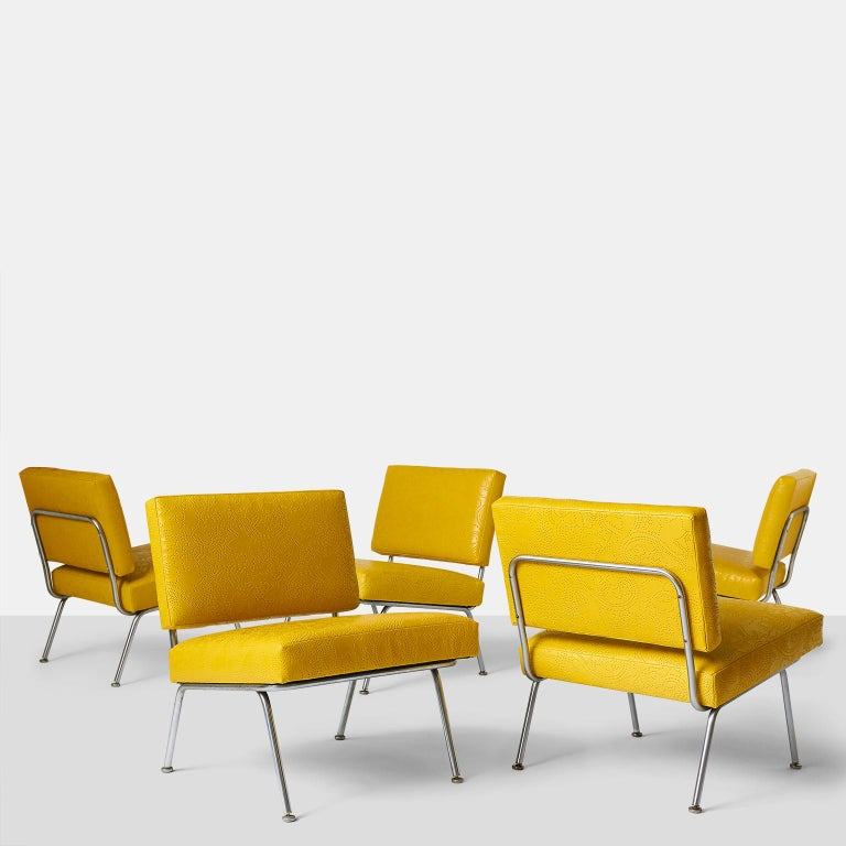 Set of Five Florence Knoll chairs model #31 for Knoll International. A very rare and early set of 5 chairs by Florence Knoll in a satin steel finish with the original glides on all legs. Completely restored in a luxurious perforated leather by Jerry