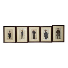 "Set of Five Framed 19th Century Vanity Fair ""Spy"" Prints, circa 1890s"