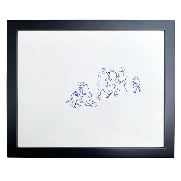 A wonderful set of five framed gestural figure drawings by Paul Chidlaw (1900-1989) depicting groups of people drawn in blue ink on paper.  Paul Chidlaw was an early proponent of abstract expressionism and had a long and distinguished career in