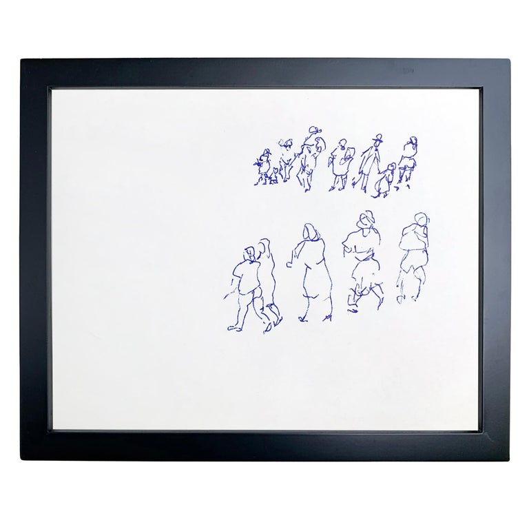 Set of Five Framed Gestural Figure Drawings by Paul Chidlaw In Excellent Condition For Sale In Chicago, IL