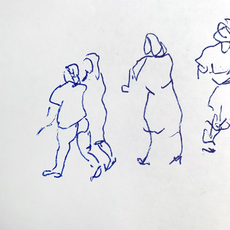 Set of Five Framed Gestural Figure Drawings by Paul Chidlaw For Sale 1