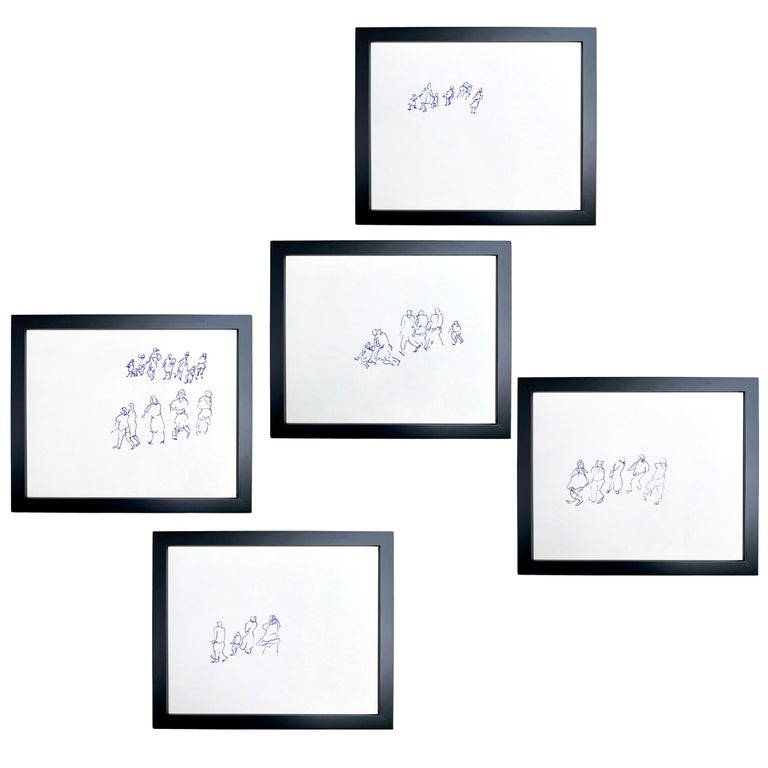 Set of Five Framed Gestural Figure Drawings by Paul Chidlaw For Sale