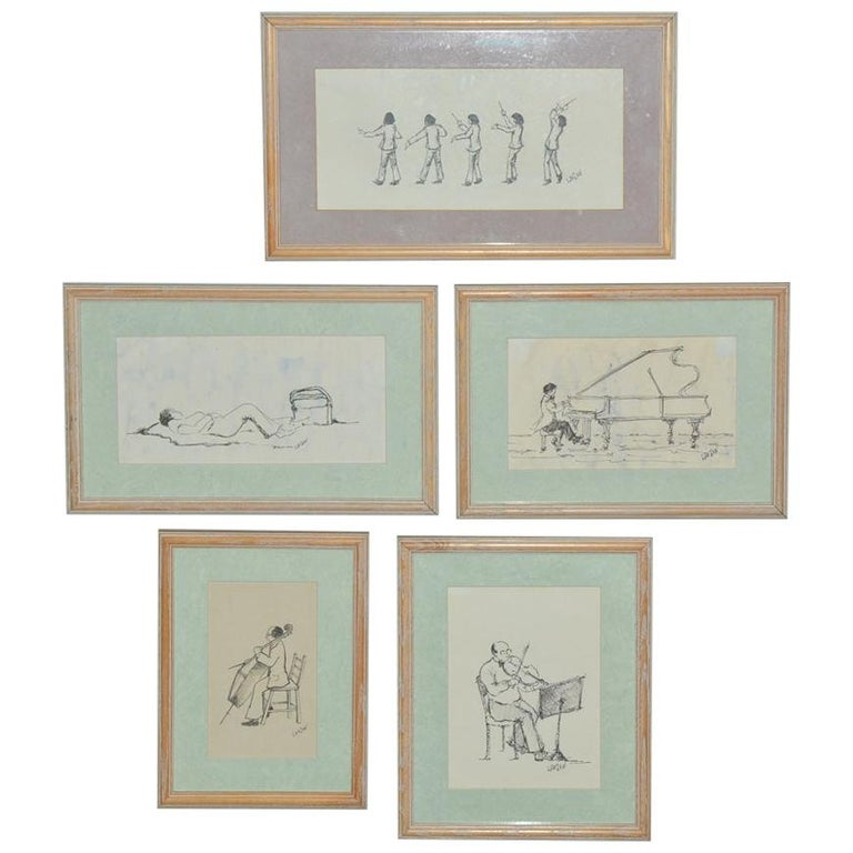 """Set of Five Framed """"Tanglewood"""" Drawings For Sale"""