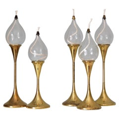 Set of Five Freddie Andersen Clear Drops Oil Lamps Brass Candleholder, Denmark