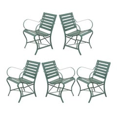 Set of Five French Early 20th Century Metal and Wood Garden Chairs
