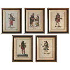 Set of Five French Hand Colored Engravings of Historic Turkish Figures