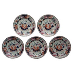 Set of Five Georgian Hicks and Meigh Ironstone Dinner Plates Water Lily Ptn No.5