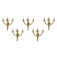 Set of Five Gilt Bronze Louis XV Style Sconces