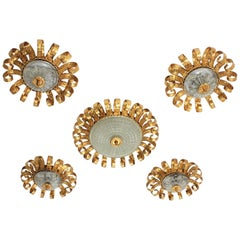 Set of Five Gilt Iron and Glass Scroll Crown Sunburst Ceiling Light Fixtures