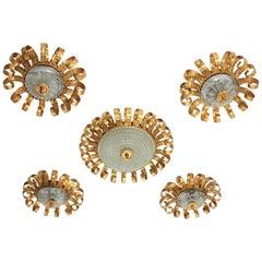 Sunburst Crown Ceiling Light Fixtures, Gilt Iron and Glass, Set of Five