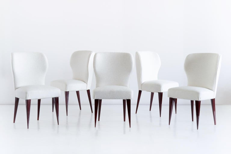Mid-Century Modern Set of Five Gio Ponti Dining Chairs for Casa e Giardino, Italy, 1942 For Sale