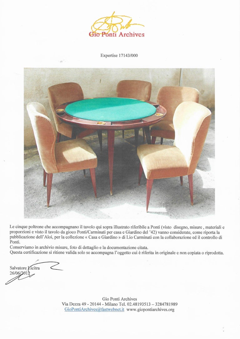 Set of Five Gio Ponti Dining Chairs for Casa e Giardino, Italy, 1942 For Sale 2