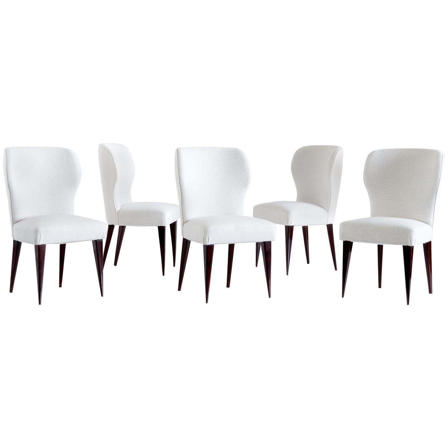 Set of Five Gio Ponti Dining Chairs for Casa e Giardino, Italy, 1942