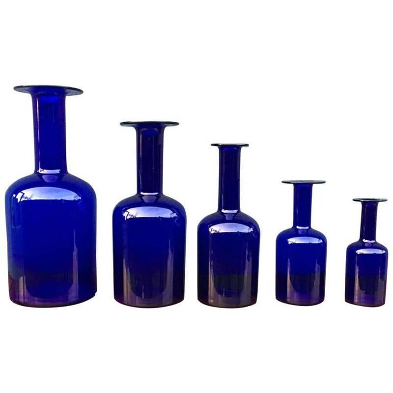 Set of Five 'Gulvase' by Otto Brauer for Holmegaard in Blue