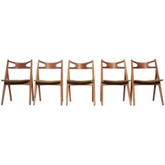 Set of Five Hans Wegner CH-29 Sawbuck Dining Chairs, Carl Hansen, Denmark, 1960s