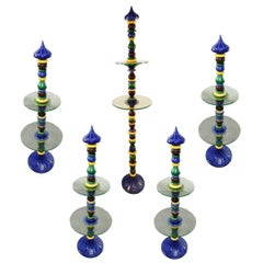 Set of Five High Display Stands in Ceramic and Glass