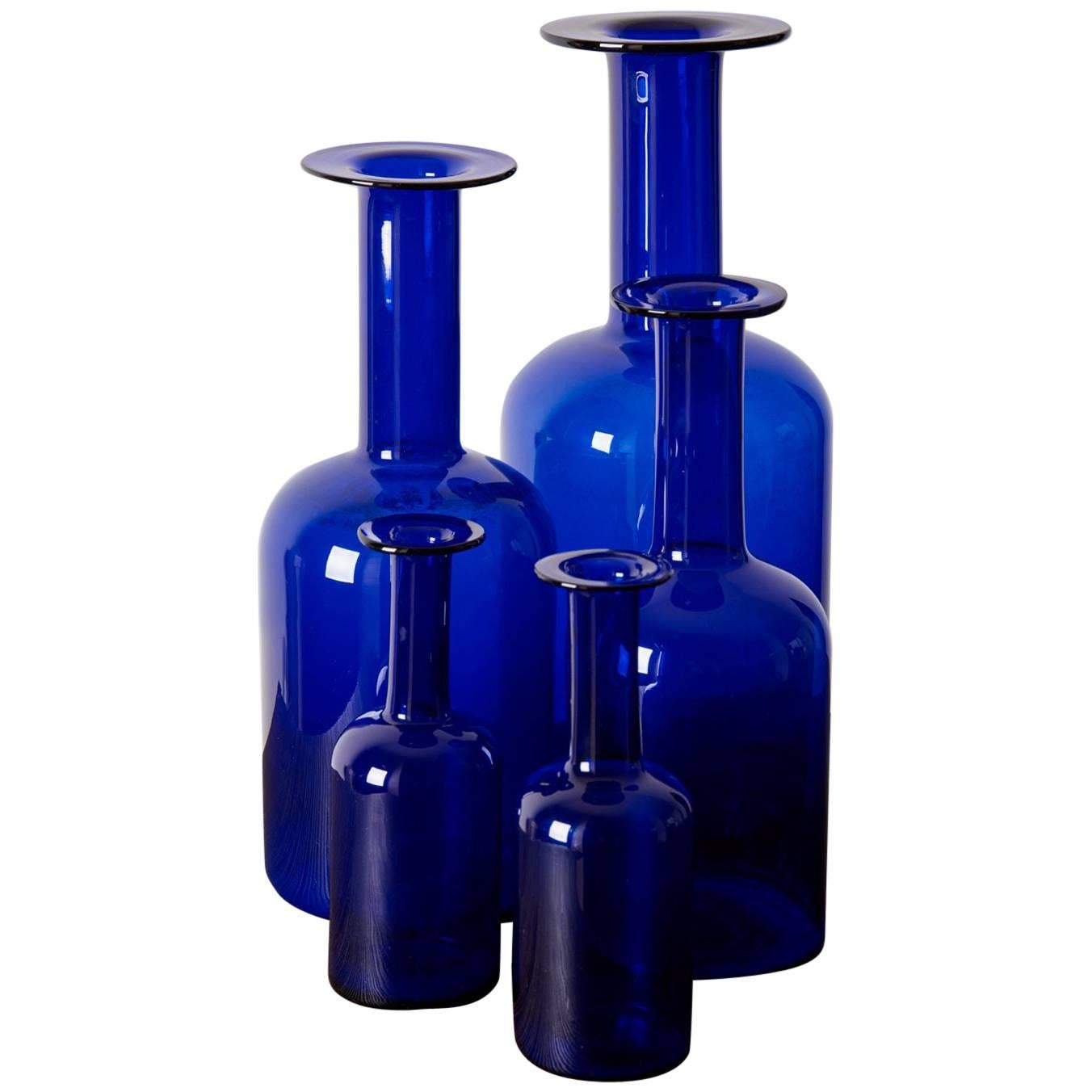 Set of Five Holmegaard Gulv Vases by Otto Brauer in Blue