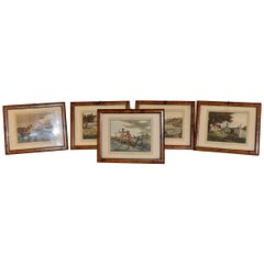 Set of Five Humorous Fishing Colored Prints