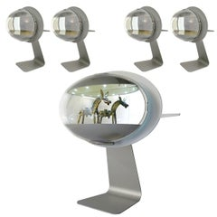 Set of Five Illuminated Displays in Apple Style Made of Aluminium and Plastic