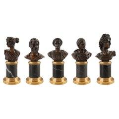 Set of Five Italian 19th Century Neoclassical St. Bronze and Ormolu Statuettes