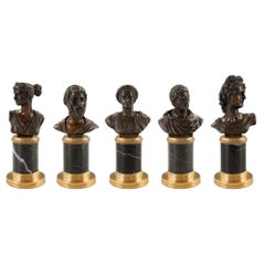 Set of Five Italian 19th Century Neoclassical Style Bronze and Marble Statues