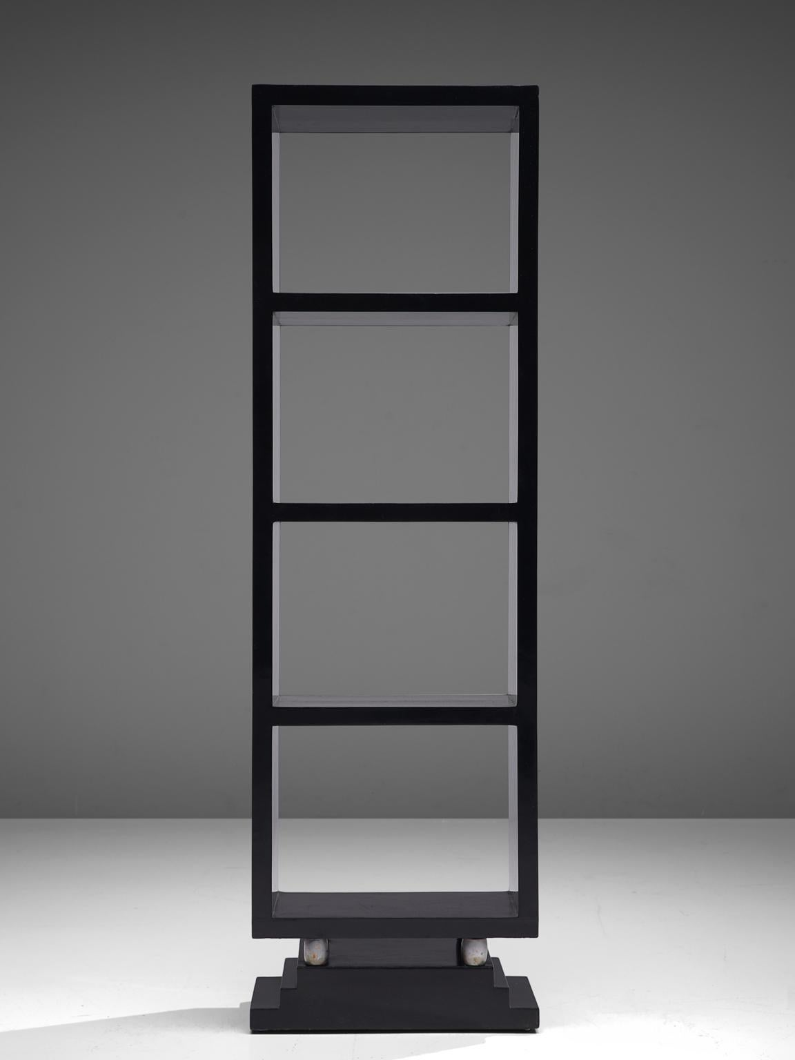 Set Of Five Italian Black Lacquered Bookcases 1930s