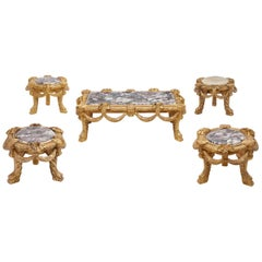 Set of Five Italian Carved Giltwood Low Tables
