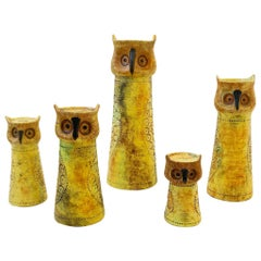 Set of Five Italian Ceramic Owls Candleholders by Bitossi