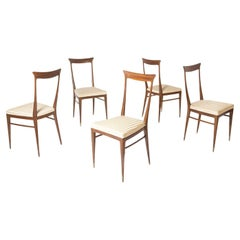 Set of Five Italian Chairs Attr. to Ico Parisi in Wood and Satin