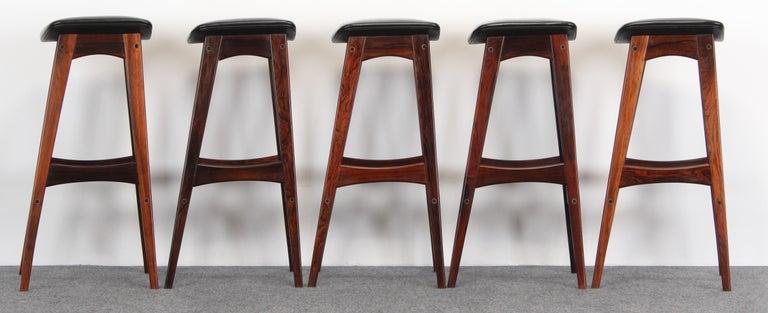Danish Set of Five Johannes Andersen Rosewood Bar Stools, 1960s For Sale