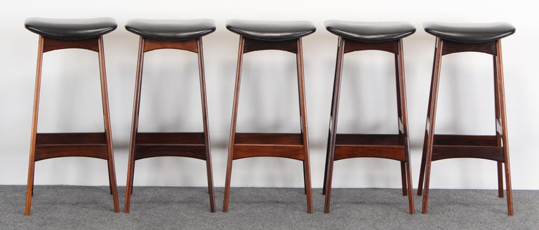 Set of Five Johannes Andersen Rosewood Bar Stools, 1960s In Good Condition For Sale In Hamburg, PA