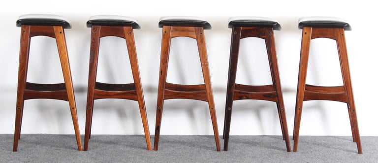 Mid-20th Century Set of Five Johannes Andersen Rosewood Bar Stools, 1960s For Sale