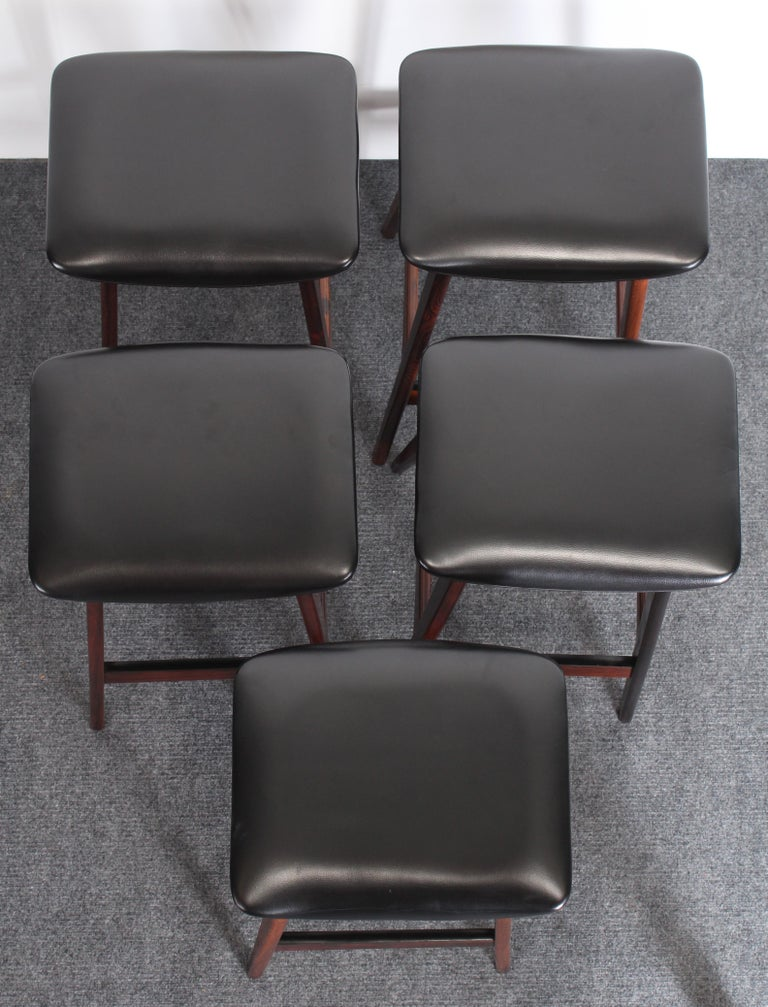 Faux Leather Set of Five Johannes Andersen Rosewood Bar Stools, 1960s For Sale