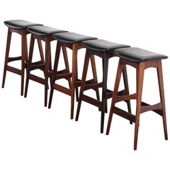 Set of Five Johannes Andersen Rosewood Bar Stools, 1960s