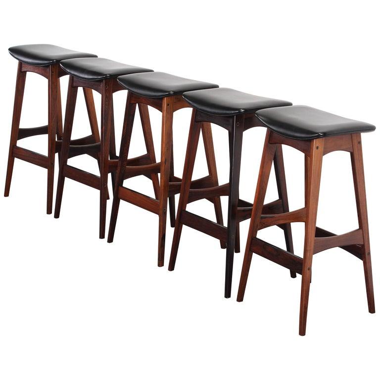 Set of Five Johannes Andersen Rosewood Bar Stools, 1960s For Sale