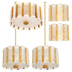 Set of Five J.T. Kalmar Drum Light Fixtures Gold-Plated and Ice Glass, Austria