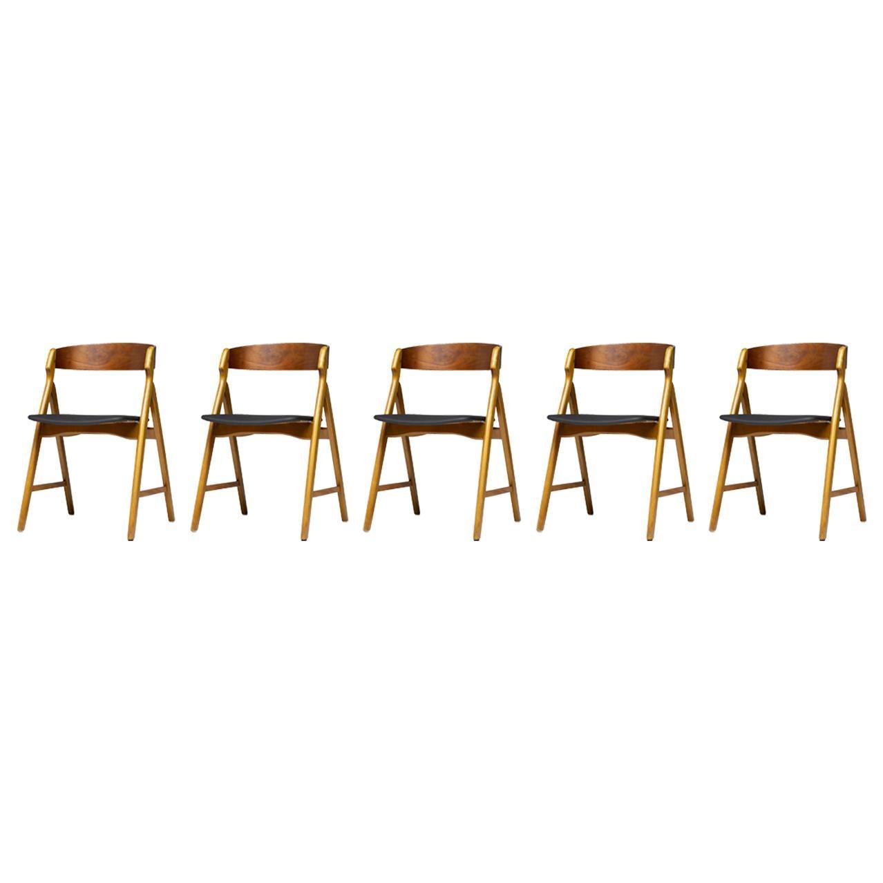 Set of Five Kai Kristiansen Teak Dining Chairs