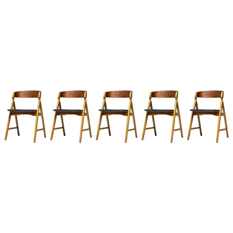 Set of Five Kai Kristiansen Teak Dining Chairs For Sale