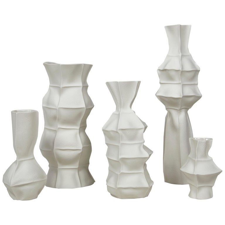 Set of Five Kawa Vases by Luft Tanaka, in Stock For Sale