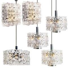 Set of Five Kinkeldey Light Fixtures, Nickel Crystal Glass, 1970