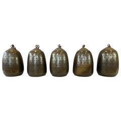 Set of Five Large Temple Bell Form Brown Glazed Stoneware Pendant Lights, 1950s