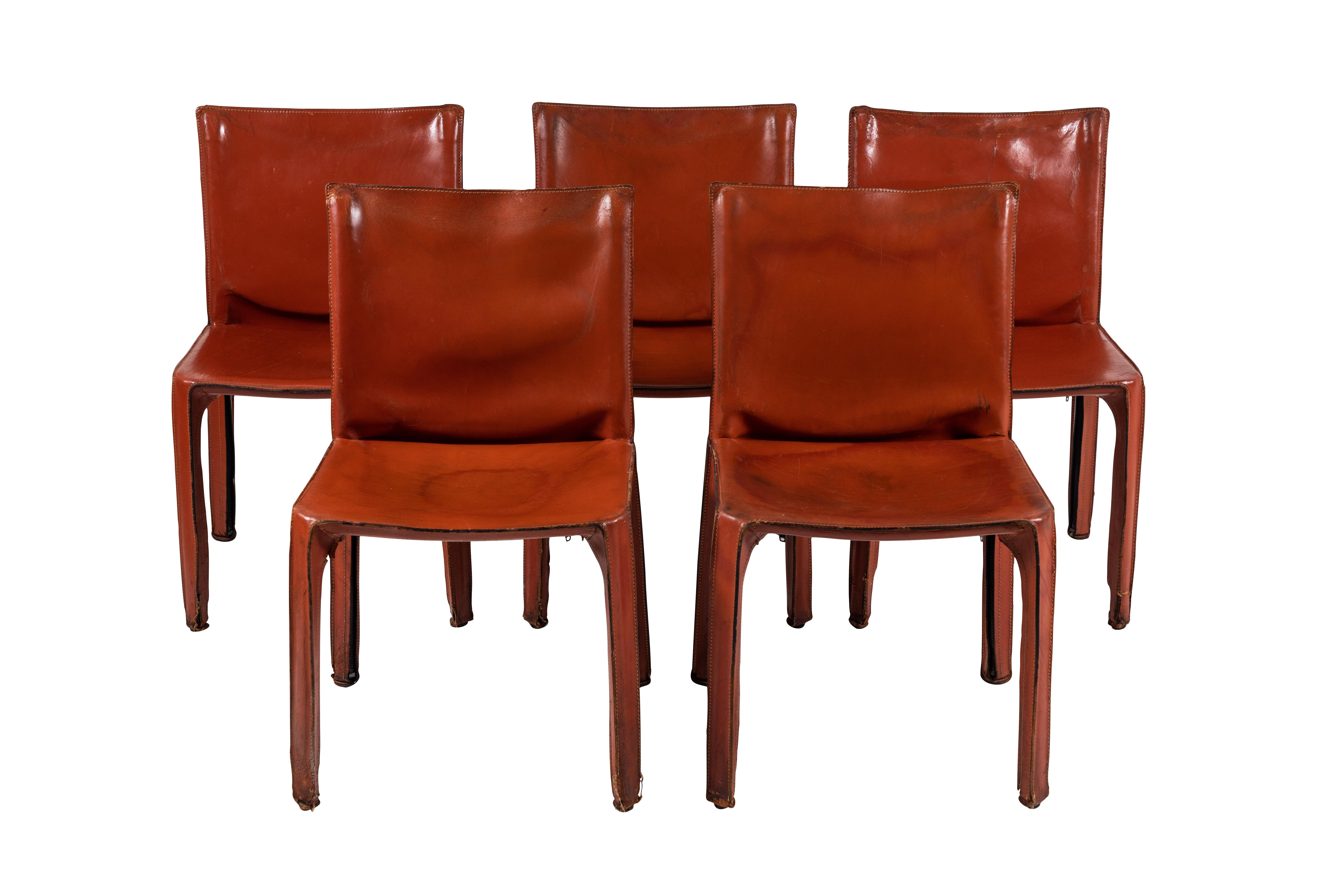 Outstanding Set Of Five Leather Mario Bellini Cab Chairs Produced By Ocoug Best Dining Table And Chair Ideas Images Ocougorg