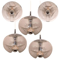 Set of Five-Light Fixtures Koch & Lowy, Two Sconces and Three Pedant Lights 1970